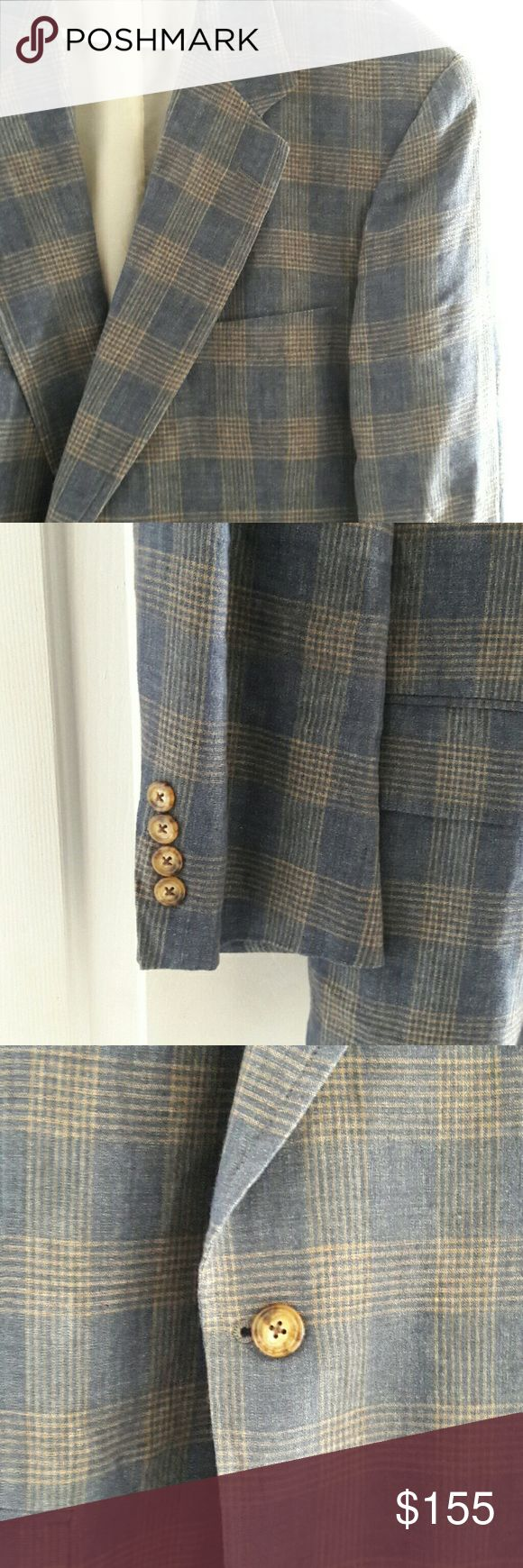 Southwick Linen Blazer This awesome Southwick blazer is blue linen with khaki plaid accents. In great, gently-used condition. Southwick Suits & Blazers Sport Coats & Blazers
