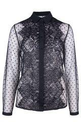 Caddis Fly - kanten blouse met sierlijk en polkadot patroon