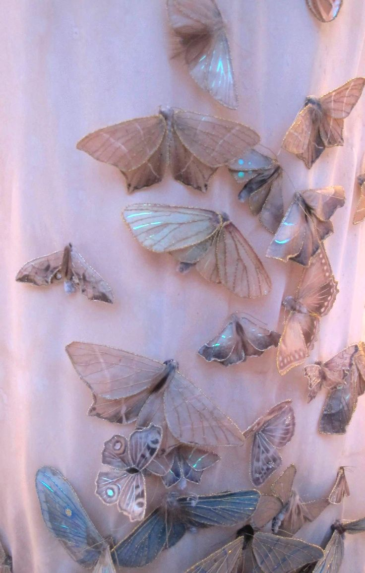 Detail of my ex-wedding dress covered in textile moths: