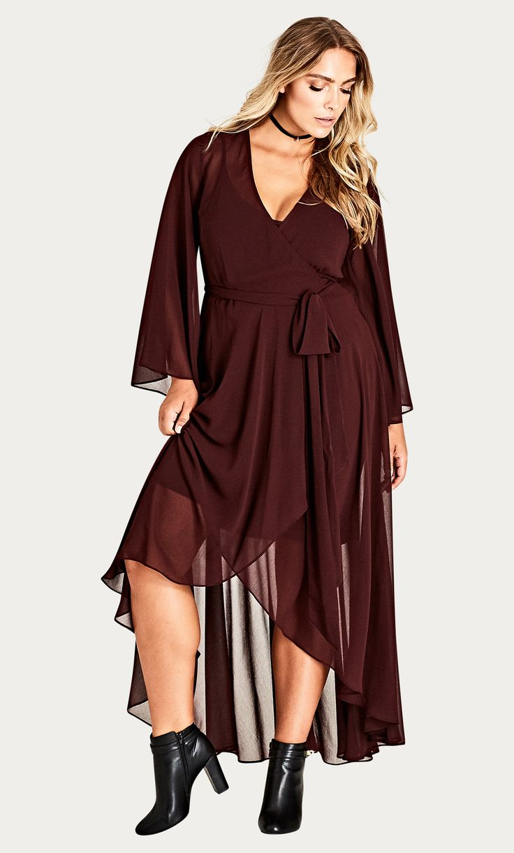 Channel some serious Stevie Nicks action in the Fleetwood Maxi Dress.   Key Features Include: - Floaty chiffon fabrication - V neck wrap around style - Full length sleeves - Side tie fastening - Full length skirt - Slip included