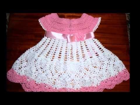 vestido a crochet para niña de 6 meses - YouTube