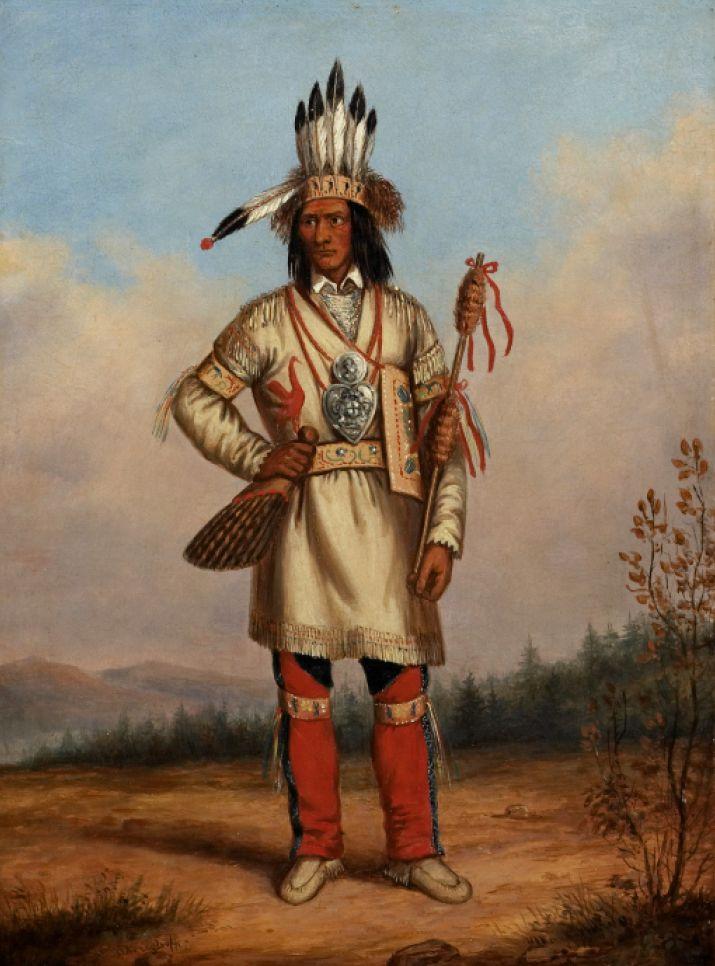 Tanaghte, Delegato Presso Lord Elgin a Montreal, c. 1849.  Anche conosciuto come Nebenaigooching (1809-1898) o Joseph Sayers, era capo degli Ojibway di Batchewana e Sault Ste Marie.  Negoziò assieme al capo Shingwauk il Trattato di Robinson del1850.