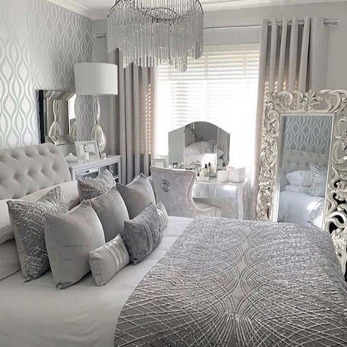 30 Amazingly Beautiful Silver Bedroom Ideas That Are The Current Trend In 2020 Luxurious Bedrooms Master Bedrooms Decor Silver Bedroom