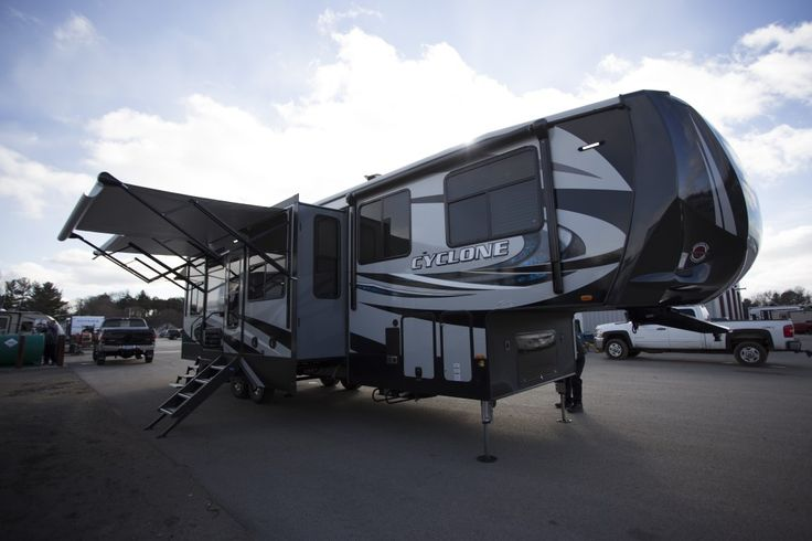 "BRAND NEW 2018 ON THE LOT!!!   2018 Heartland Cyclone 3600  The impressive 12.5' garage in this 14,860 lb, 39' 4"" long toy hauler has tons of room for your toys and then converts into living space once it's unloaded. You'll find an abundance of seating space in the living room which can be hard to come by with a toy hauler. Check it out for yourself!  Give our Cyclone expert John Sobczak a call 231-903-6220 for pricing and more information."