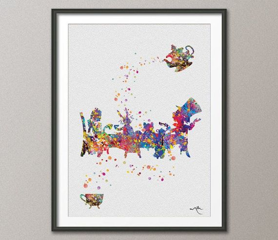 Mad Hatter Tea Party Alice in Wonderland Watercolor by CocoMilla, $15.00