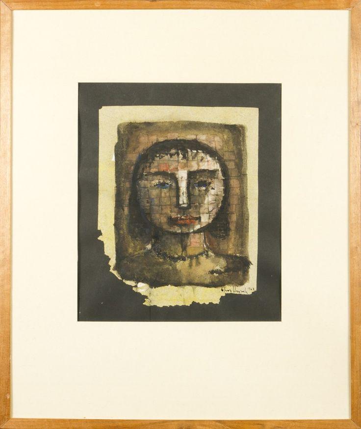 Olavi Vaarula, 1963, sekatekniikka, 35x27 cm - Hagelstam A127