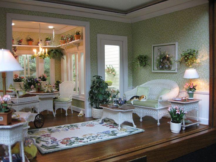 Blossom Time (right): Thumbnail, Dollshouse, Dollhouse Miniature, Dolls House, Wicker Room