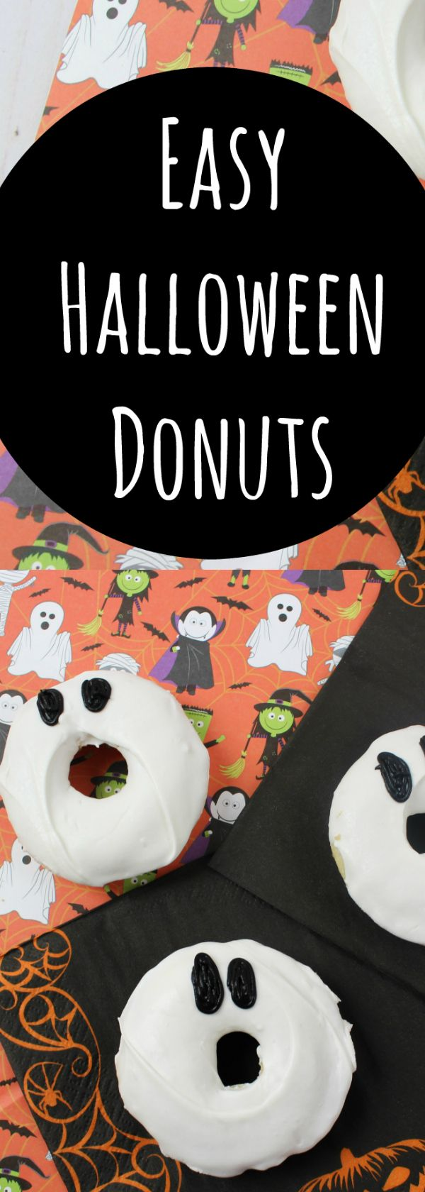 Halloween party food that is easy to make. Halloween Ghost donuts. Doughnous donughts are so easy and Ghosts are perfect for last minute party snacks. Halloween food