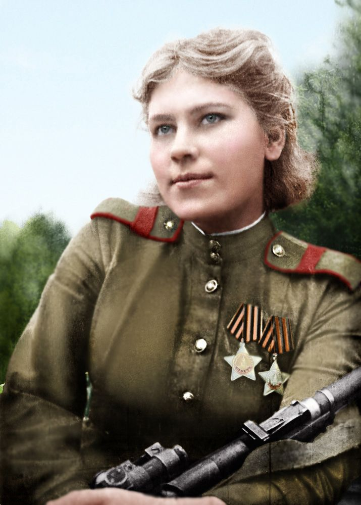 Roza Shanina; (3 April 1924 – 28 January 1945) was a Soviet sniper during World War II, credited with 59 confirmed hits, including 12 snipers