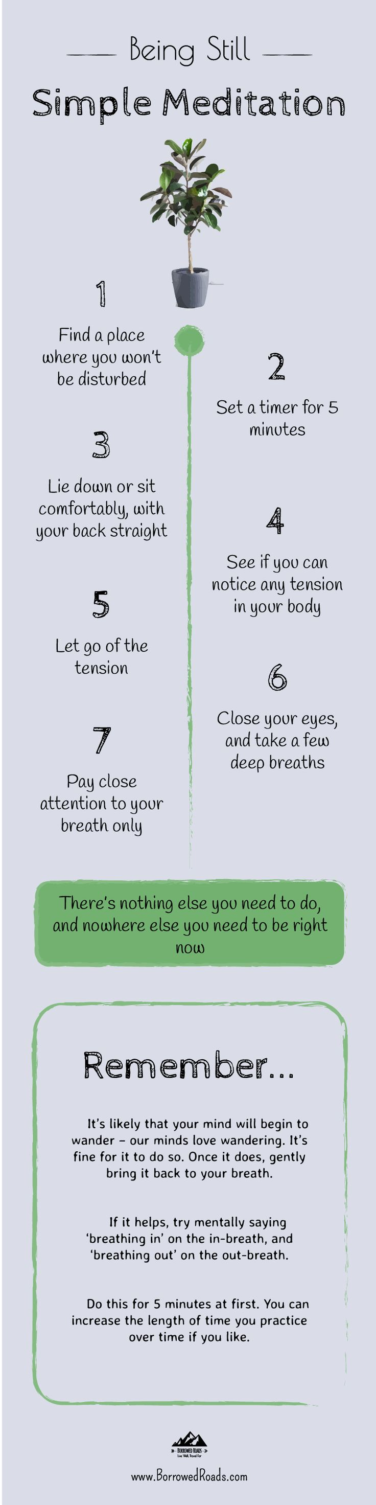 A simple #meditation guide from Borrowed Roads. #mindfulness #calm #still