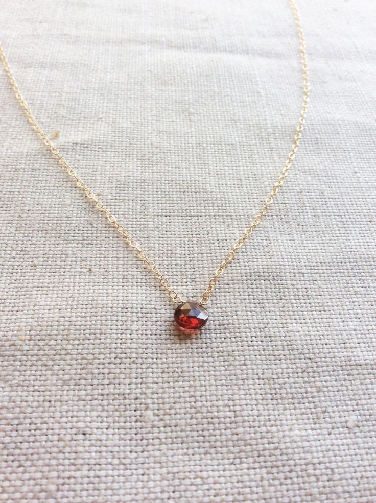 Garnet Necklace - January Birthstone - Garnet Necklace Gold - Garnet Jewelry - 14k Garnet Necklace - Garnet Choker - Birthstone Necklace