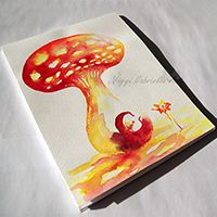 Gombaházban lakunk füzet - kézzel festve #akvarell #művészet #festészet #füzet #design