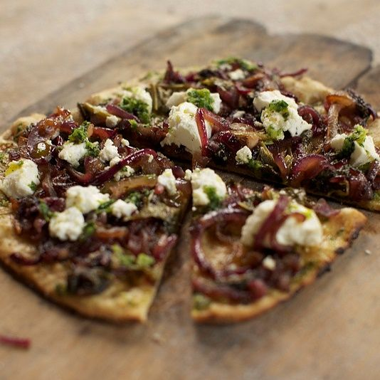 Viking Flatbreads    Spelt Flour Circles with a Curd Cheese, Caramelised Onion and Spinach