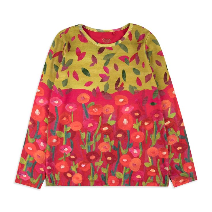 OILILY Girls Thermaline Top - Multi From £39 Girls long sleeve top • Soft stretchy cotton • Round neckline • Ribbed cuffs and hem • Colourful floral hedgehog print • Material: 95% Cotton, 5% Elastane