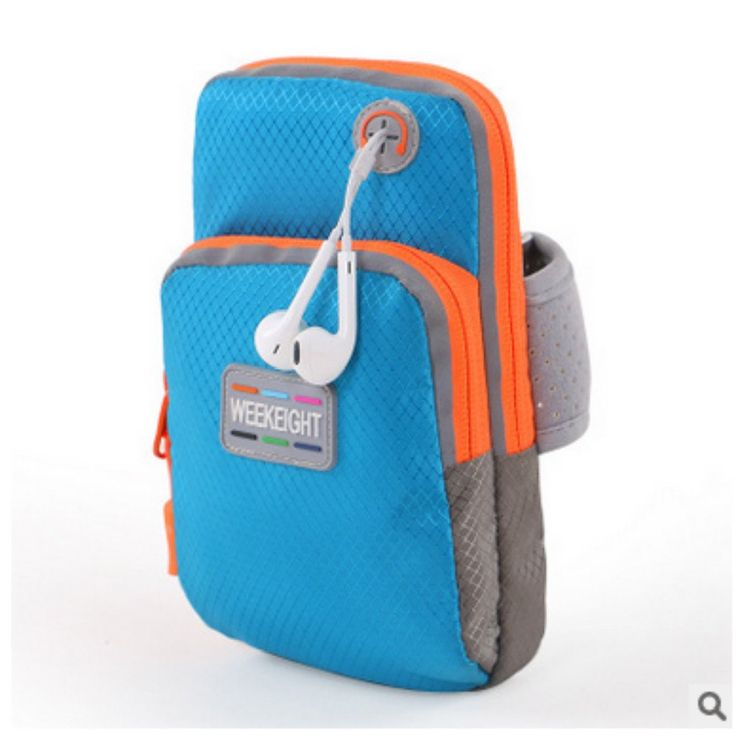 "WEEKEIGHT Sports Armband,Double Zipped Pocket Sport Gym Running Arm Band Bag Case Cover for Smartphone with Screen Size From 5.5"" to 6', Such As Iphone 6 6s Plus, Samsung Note 4 etc (Sky blue). Creative reflect everywhere, the big bag to place phone. It also added a hole for earphone cable. This arm band is larger size: 18x10x4cm, Inner size is 9x16.5cm, suitable for smartphone with screen size from 5.5"" to 6', such as Iphone 6/6s plus,Samsung Note 4, Huawei MATE 7,Honor 6 Plus,Xiaomi…"