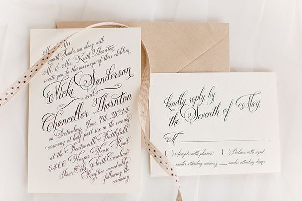 Elegant Black and Cream Calligraphy Wedding Invitation | J&J Photography | Classic Southern Ivory and Gold Wedding
