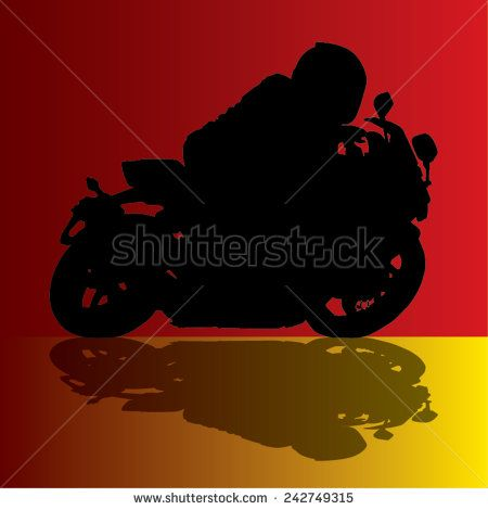 Vector image of a motorbike and rider silhouette with its shadow - stock vector  #art #background #bike #biker #black custom #cycle #drive #engine #fast #freedom graphic #icon #illustration #image #sponsormualla  #shutterstock