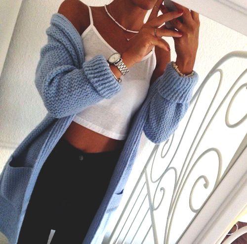 ➖ - Women's Fashion  - Pastel Blue Sweater  - Knit Cardigan - White Tank Top - Black Jeans  #summer