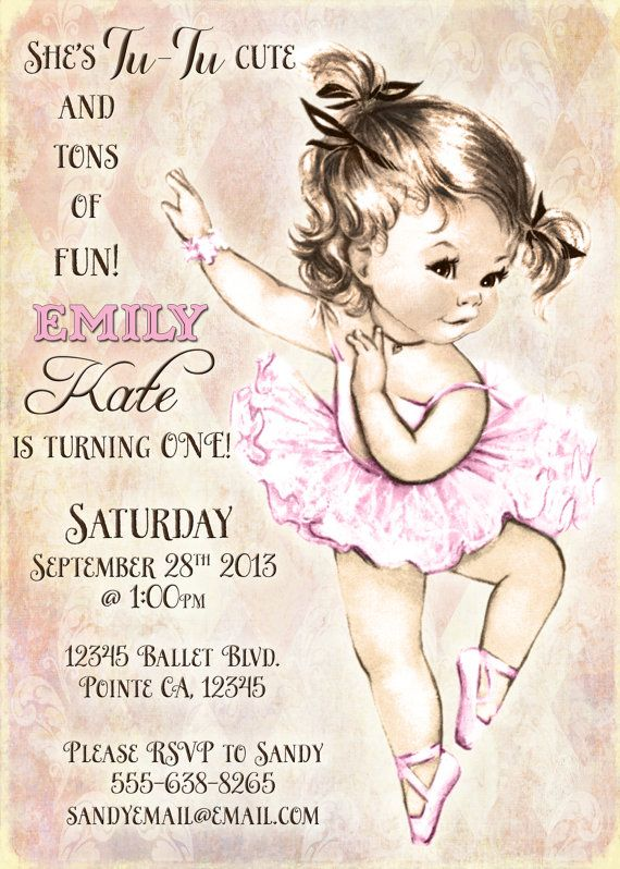 Vintage Ballerina Birthday Invitation For Girl Ballet Party First