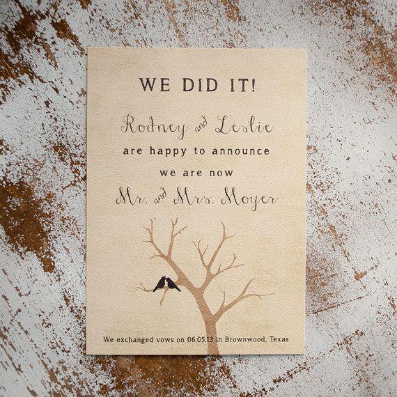 Wedding Announcements  the Lovebird   elopement by starboardpress, $3.30