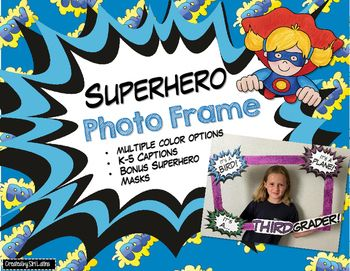 Super cute, superhero classroom photo frame call-outs and captions for beginning of the year photos. You make the frame and decorate with this kit. Adorable for door decorations, hall bulletin board, etc. Two color choice options for each call-out/grade level caption. ***Updated file includes Kindergarten! :)Check out my matching products for a whole superhero-themed classroom!*Team Signs and Labels*Welcome Banner*Name Plates*Classroom Rules*Classroom Jobs***NOTE: For all of the classroom…