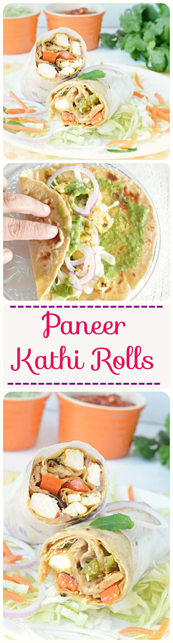 Freshly prepared Indian chapati stuffed with green chutney, lettuce and sauteed #Kadaipaneer. Yum and delicious Kolkata Specialty!! #kathirolls #katirolls