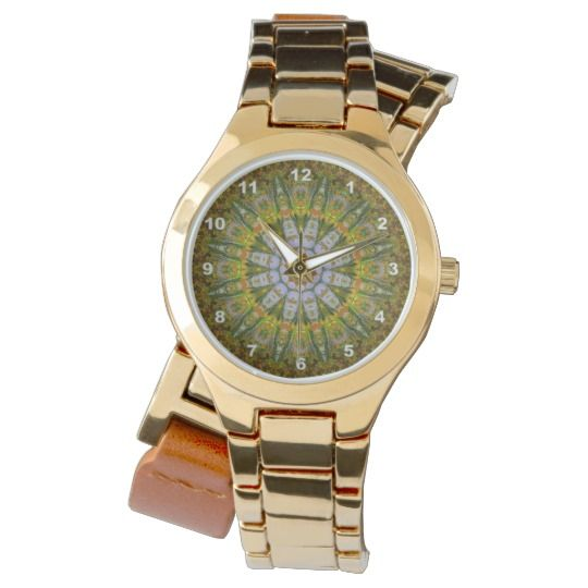 Nature Mandala Gold Wrap-Around Wrist Watch#zazzle #watch #wrist #wristwatch #green  #woman #girl #mandala #kaleidoscope #gift #giftidea
