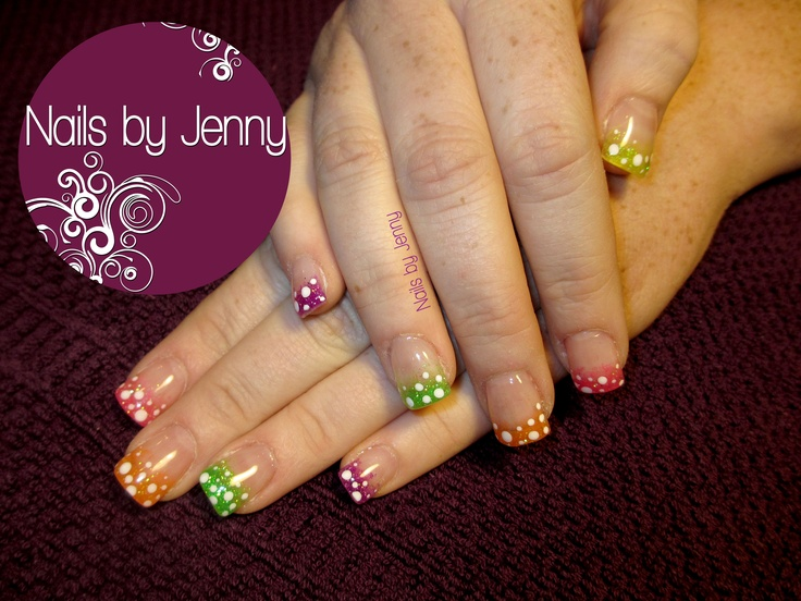 Gel Nails wit Glitter Tip Fade and Polka Dots