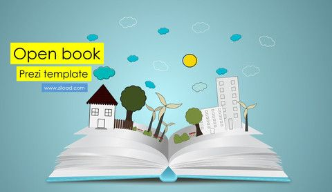 Prezi template with the Open book and pop up elements for different type of presentation like ecology or school, student's and business topics