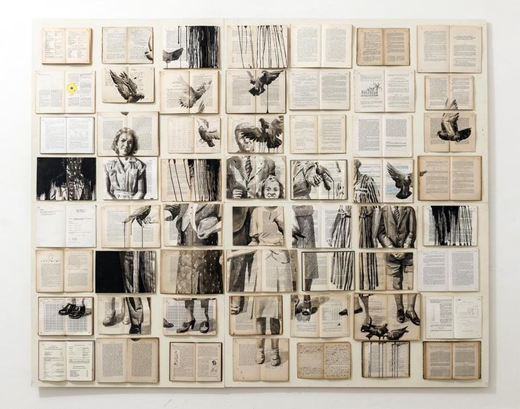 Ekaterina Panikanova - ink and acrylic paintings on books.      Gloucestershire Resource Centre http://www.grcltd.org/scrapstore/
