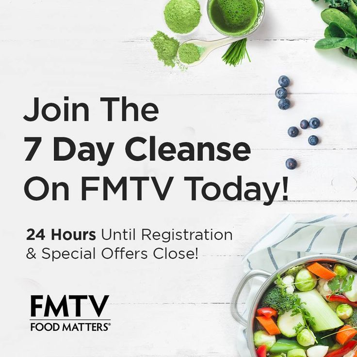 24 HOURS until registration closes for the NEW 7 Day Food Matters Cleanse that will be run by our FMTV community!  Plus, there's some pretty amazing specials! http://bit.ly/7DC-Join