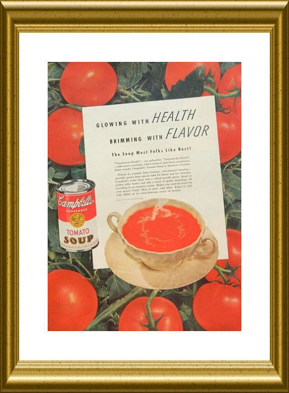 Campbell's Soup Ad red kitchen wall art OR Paul by DustyDiggerLise
