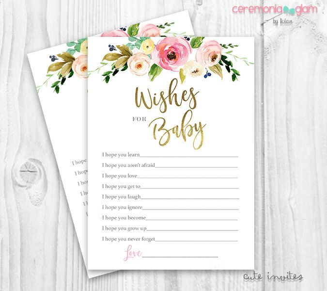 Floral wishes for baby game, floral baby shower wishes for baby, boho wishes for baby, rustic floral wishes for baby, gold and pink floral by ceremoniaGlam on Etsy https://www.etsy.com/listing/522859233/floral-wishes-for-baby-game-floral-baby