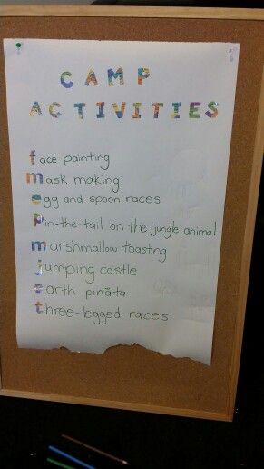 Camp activities board