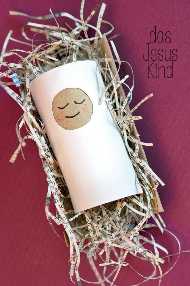 ★Les Tissus Colbert toilet paper roll made into baby Jesus in the manger - write a Bible verse on this kid craft - can make it into an ornament
