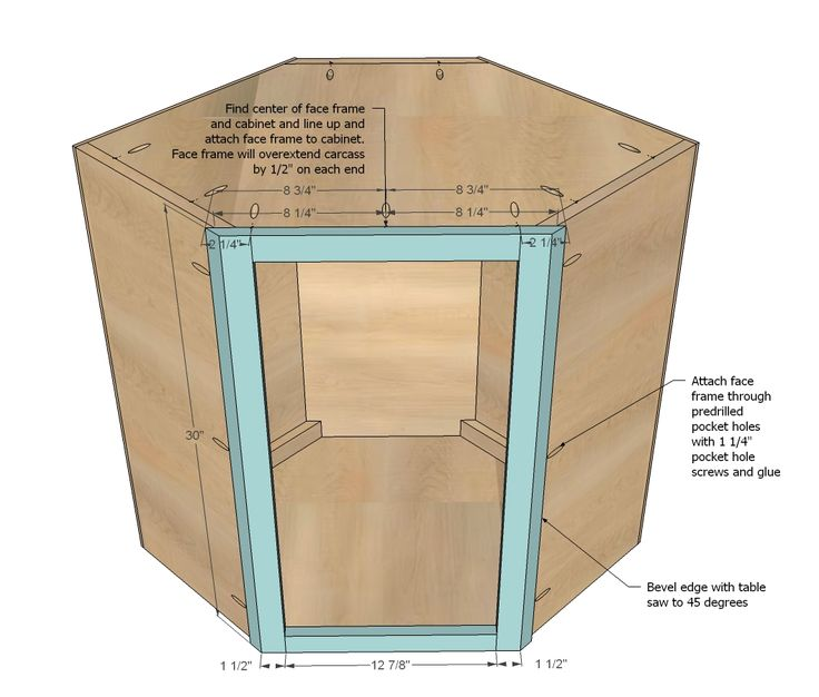 Ana White   Build a Wall Kitchen Corner Cabinet   Free and Easy DIY Project and Furniture Plans
