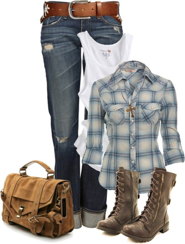 Casual Outfit: Horses Riding Outfits, Fashionista Trends, Tanks Tops, Blue Shirts, Plaid Shirts, Casual Outfits, Cowboys Boots, Combat Boots, Country Outfits
