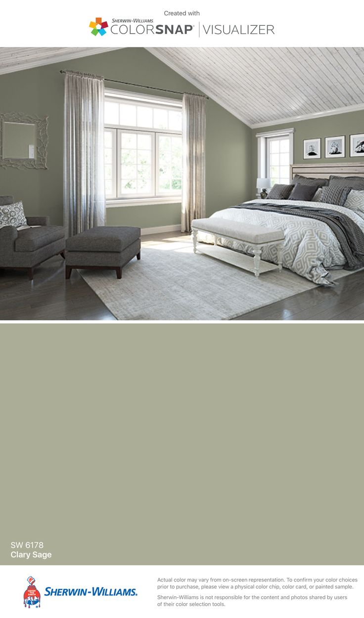 Master Bedroom. I found this color with ColorSnap® Visualizer for iPhone by Sherwin-Williams: Clary Sage (SW 6178).