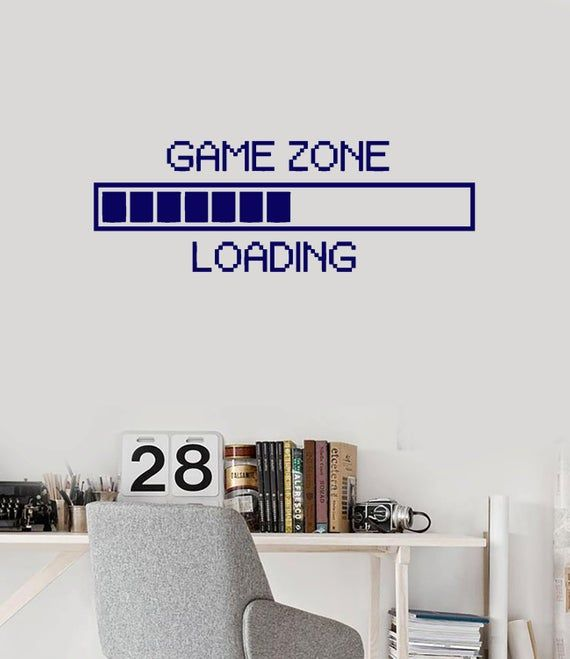 Wall Vinyl Decal Children's Room Decor Game Zone Loading Gamer Computer Game Play Room Decoration (#