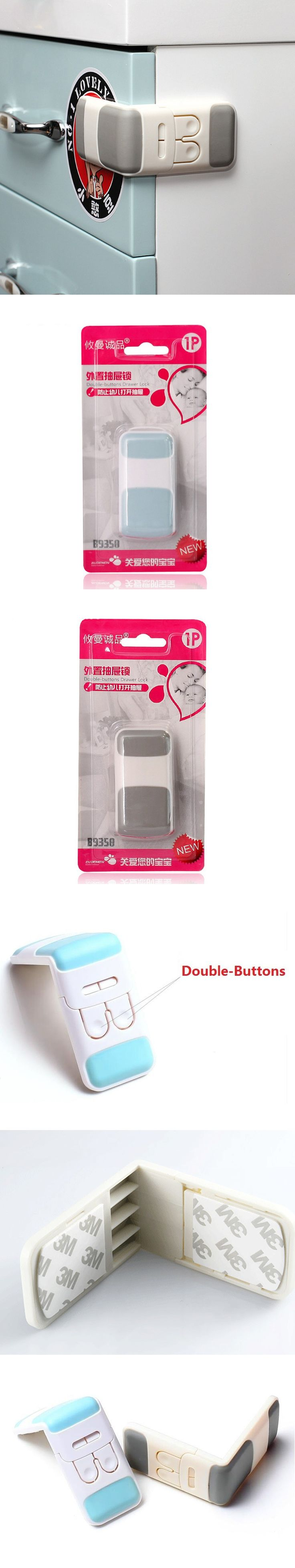 Baby Safety Double-Buttons Drawer Lock Child Cabinet Locks Drawer Refrigerator Locks Seguridad Infantil Kids Safety aTRQ0476