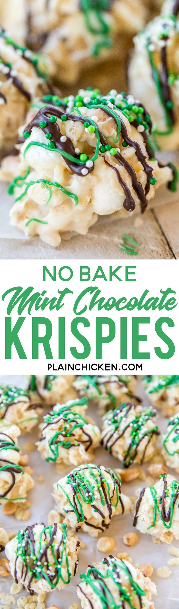 No-Bake Mint Chocolate Krispies - only 5 ingredients and 5 minutes! These are dangerously delicious! Drizzle with melted chocolate and green candy melts for a festive St. Patrick's Day treat!! Almond bark, peppermint oil, rice krispies, peanuts and marshmallows.