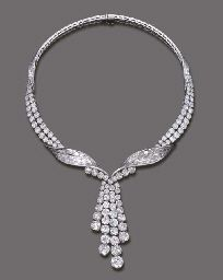 AN IMPORTANT DIAMOND NECKLACE, BY STERLE Designed as an entwined baguette and brilliant-cut diamond ribbon suspending a detachable graduated brilliant-cut diamond four-row tassle pendant, circa 1960, 38.0 cm. long, with French assay marks for platinum and gold Signed Sterlé Paris, no. 8685 (2)