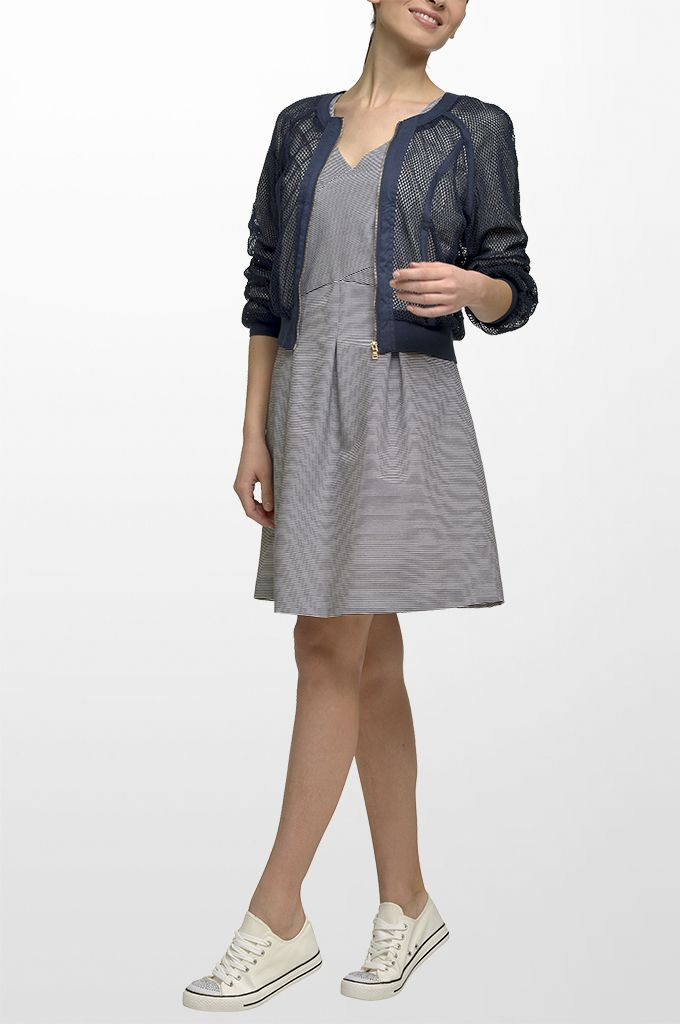 Sarah Lawrence - netted short outerwear with zipper, V neck sleeveless striped dress with pleats.
