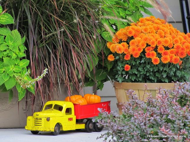 My vintage toy truck hauling some pumpkins: Fun Fall, Fall Front Porches, Decor Ideas, Fall Decor, Toys Trucks, Minis Pumpkin, Fall Porches, Vintage Toys, Dump Trucks