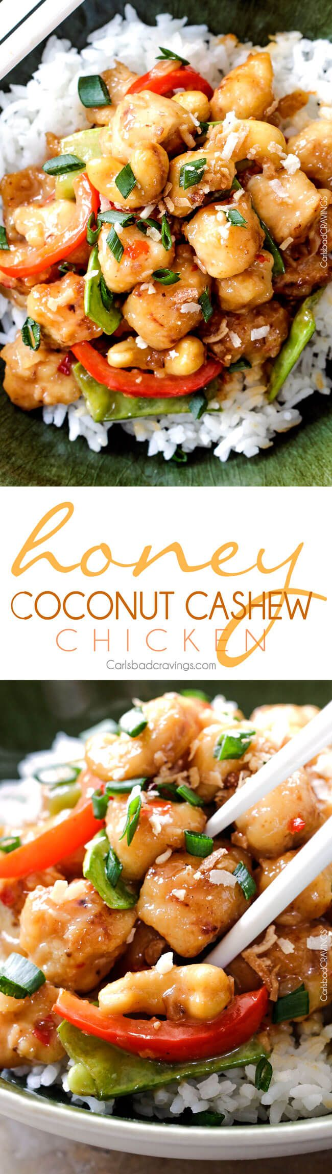 Honey Coconut Cashew Chicken Stir Fry - in your mouth in 35 minutes with most incredible coconut infused sweet and tangy sauce.