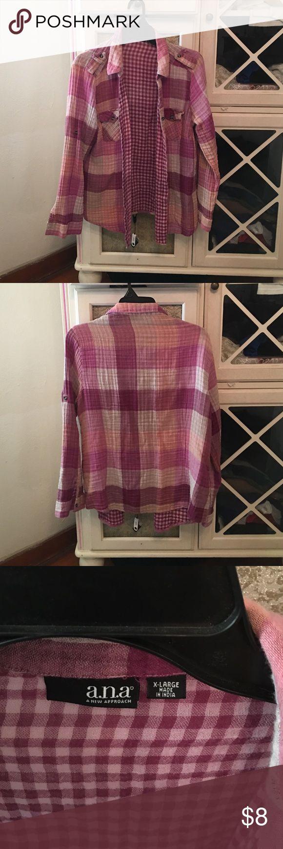 Purple plaid shirt Super cute hipster plaid shirt! a.n.a Tops Button Down Shirts