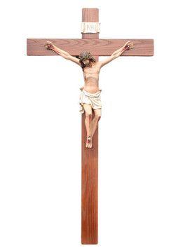 altezza Cristo cm. 70 in resina croce di legno cm. 140x70 dipinto con colori acrilici e finiture ad olio  http://www.ovunqueproteggimi.com/collezione-statue/ges%C3%B9/cristo-in-croce/