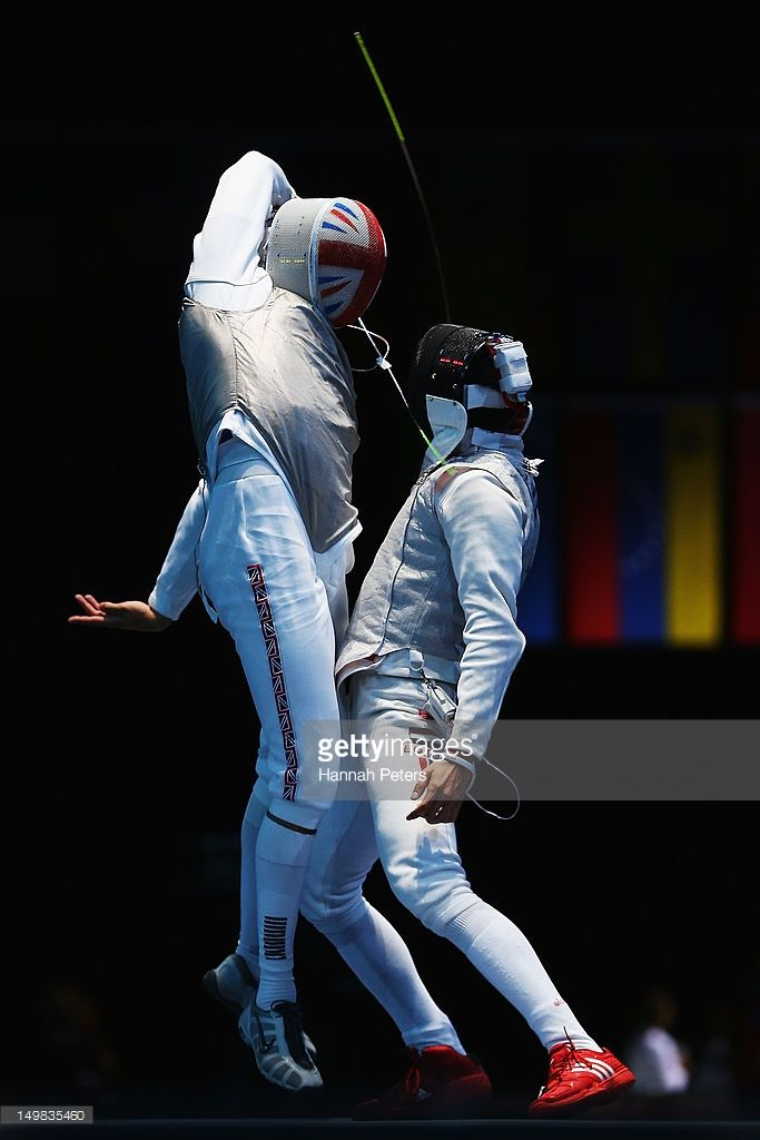 Husayn Rosowsky of Great Britain competes against Tarek Ayad of Egypt during the Men's Foil Team Fencing on Day 9 of the London 2012 Olympic Games at ExCeL on August 5, 2012 in London, England.