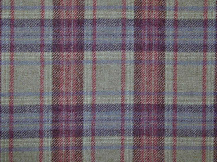 Highland Wool Tartan Check Natural Mauve Rose Curtain