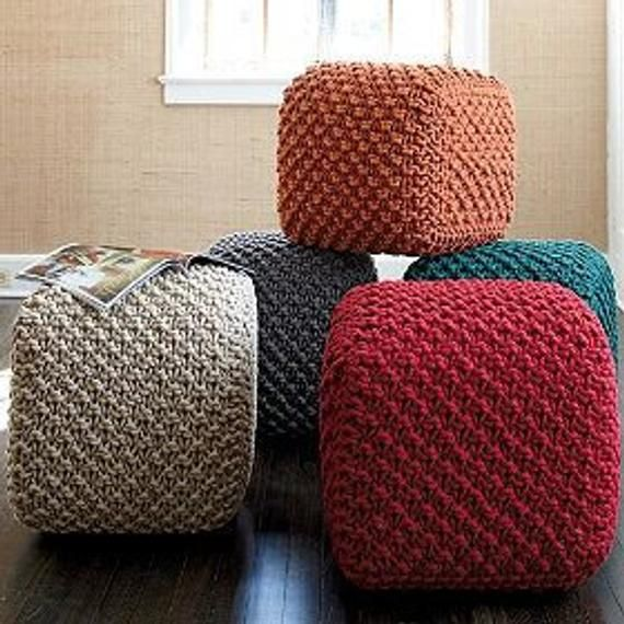 Soft Poufs For The Living Room Floor Cushions Knitted Square